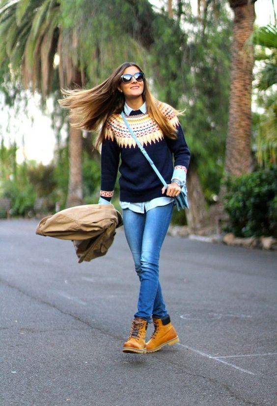 layered sweater timberlands