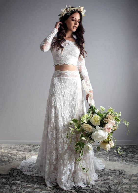 boho two piece wedding dress
