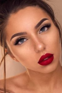Red Lip and Natural Skin