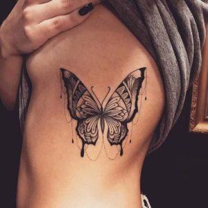 Butterfly-Rib-Tattoos