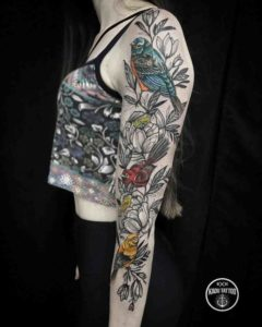 Colorful-Bird-Sleeve-Tattoos