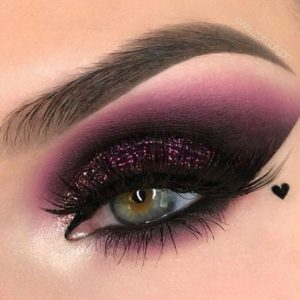 Deep Purple Smokey Eye with Glitter