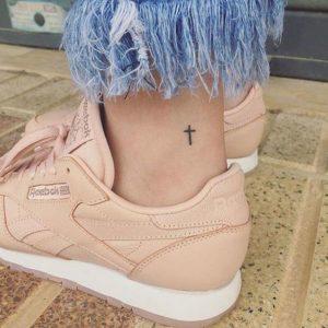 cross ankle tattoo