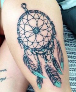 blue-dreamcatcher-tattoos