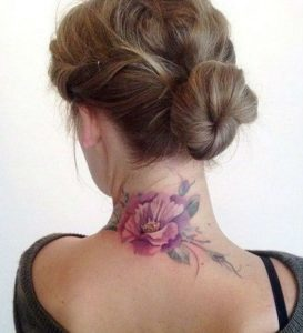 Flower-Back-of-Neck-Tattoos