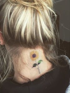 Sunflower-Back-of-Neck-Tattoos