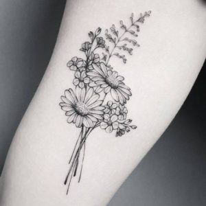 bouquet-daisy-flower-tattoo