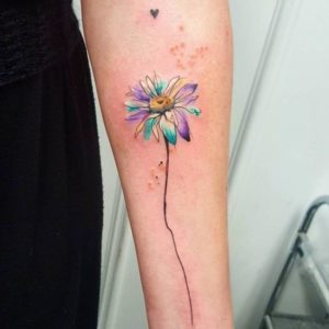 colorful-daisy-flower-tattoo