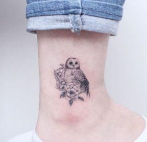 flower-owl-tattoo