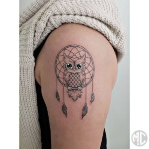 owl-dreamcatcher-tattoos