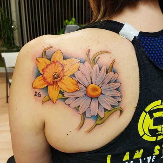 ankle-bouquet-daisy-flower-tattoo
