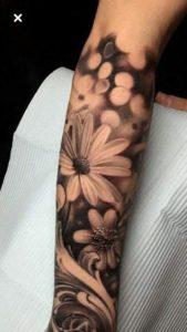 sleeve-daisy-flower-tattoo