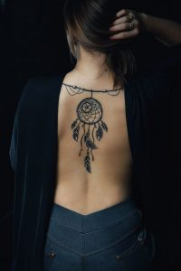 Back Of Neck Dreamcatcher Tattoo