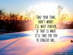 take your time forgive me quote